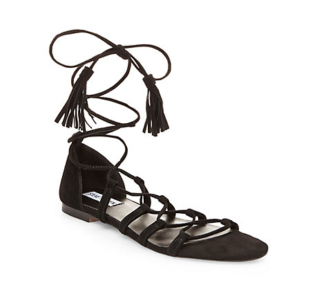 black cage toe ankle wrap flat sandal