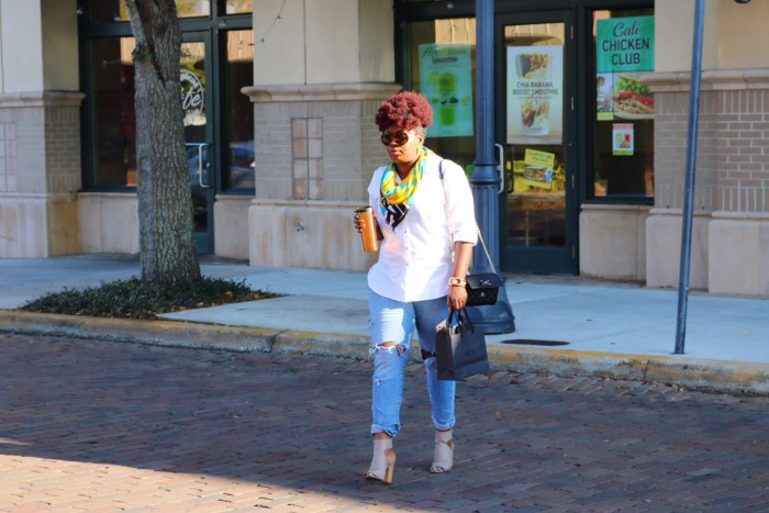 Orlando Street Style Blogger wearing Distressed Denim with White Shirt and Nude Pumps from Kohl's Collection