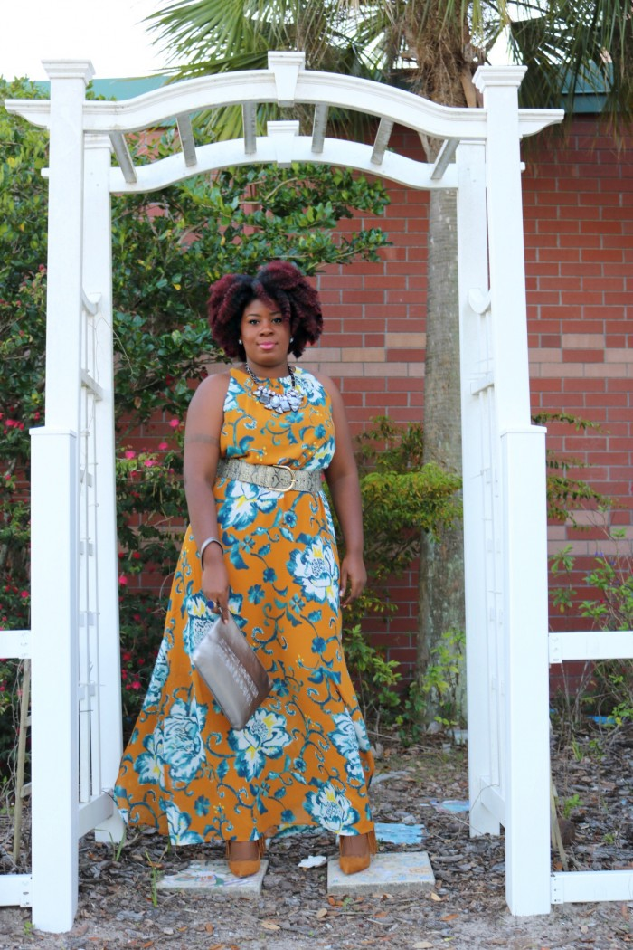 Black Fashion Blogger Standing Posing in Floral Maxi Dress