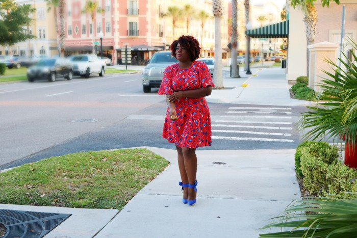 Black Fashion Blogger Orlando Red Floral Dress
