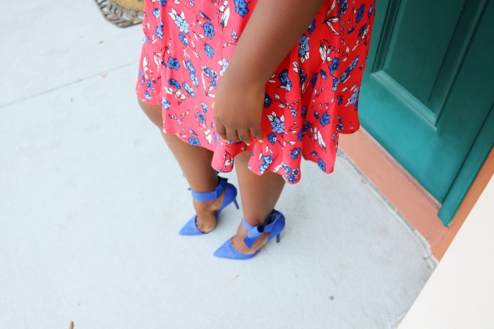 Blue Pumps with Big Bow on Ankle