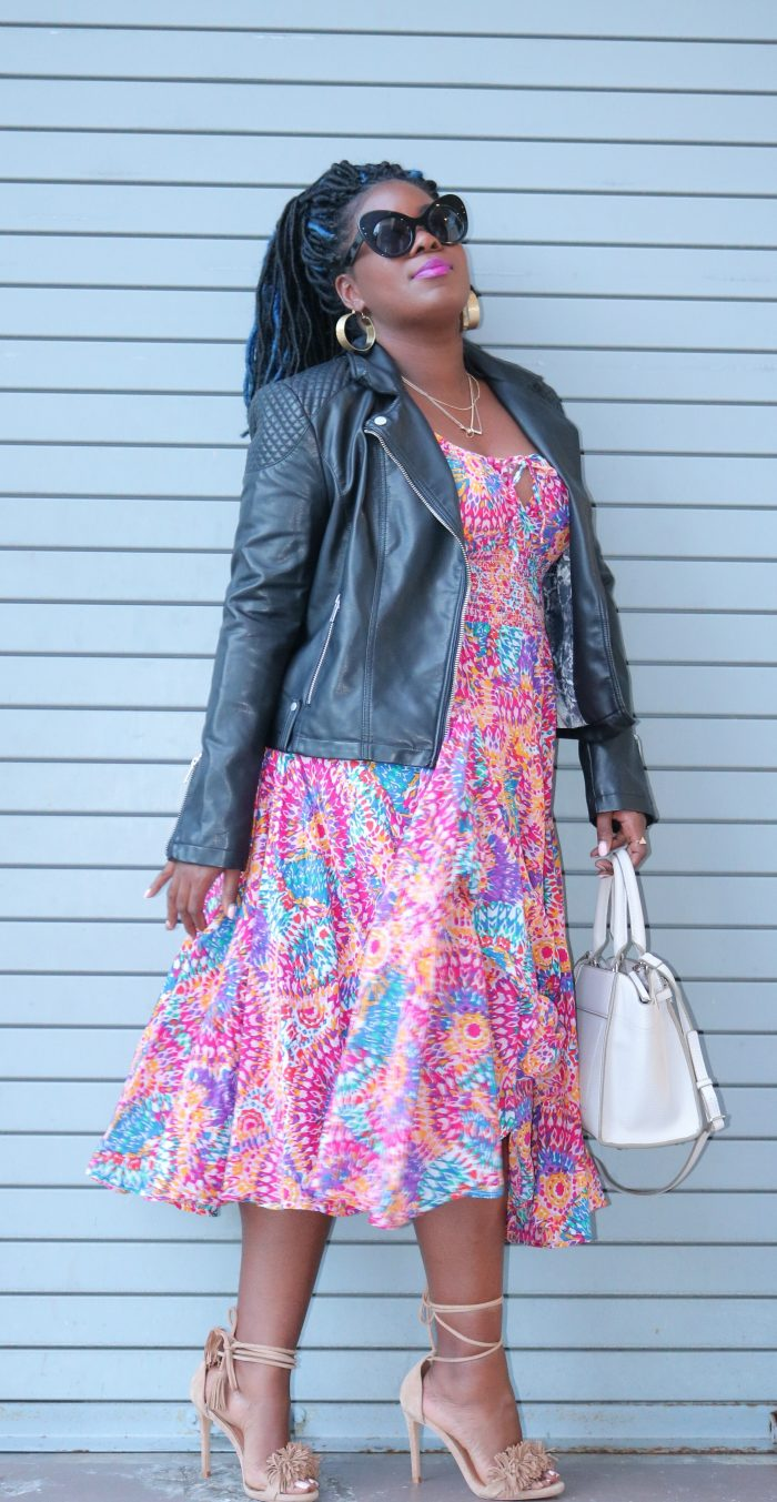 macys-floral-dress-and-leather-jacket